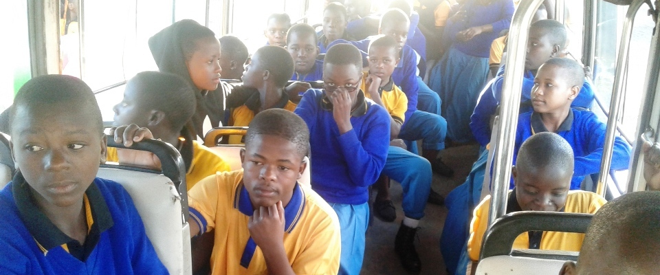 Students in the bus to Matema Beach, Kyela Mbeya During Study tour.