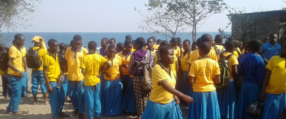 Student at Matema Beach, Lake Nyasa during Study Tour.